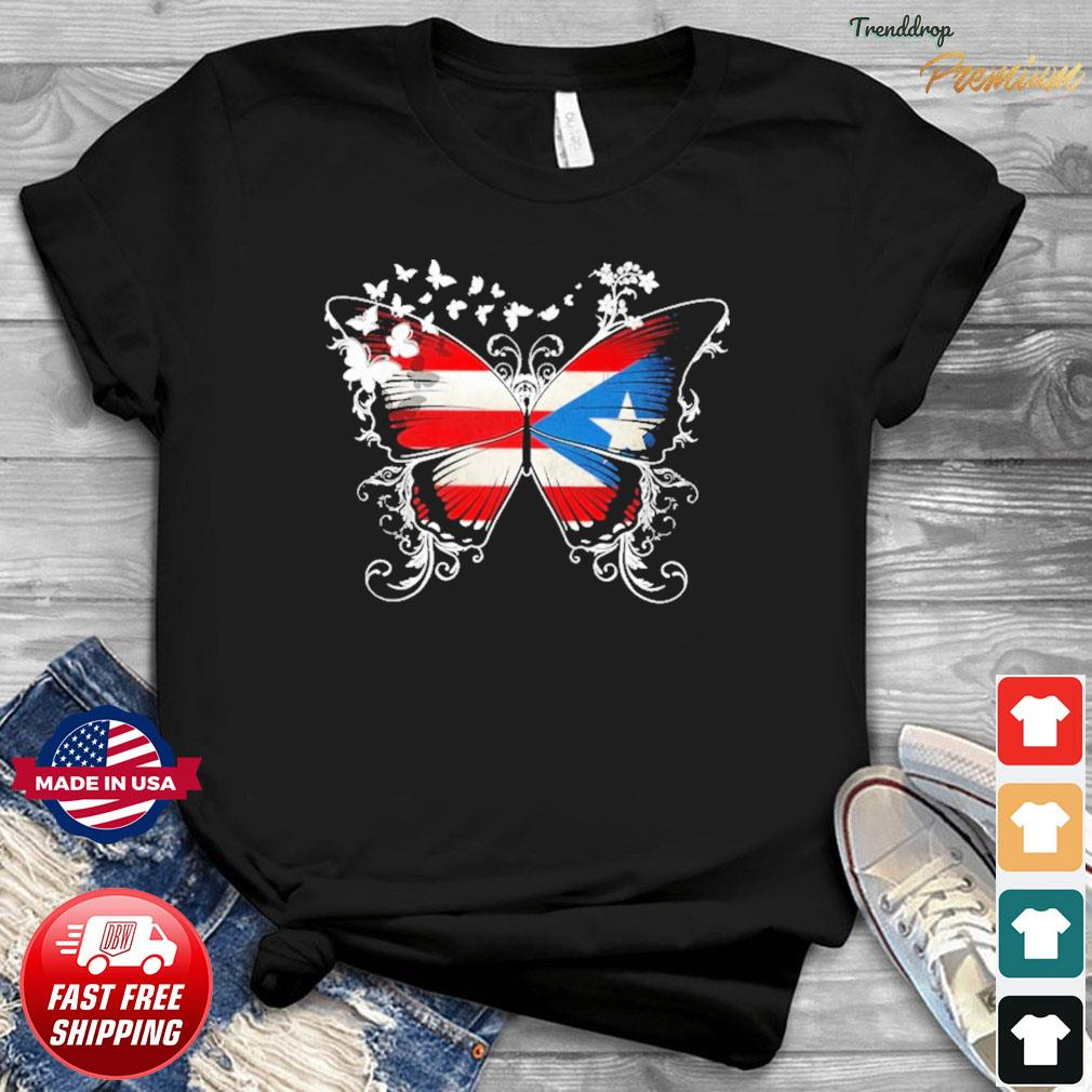 Butterfly Puerto Rico With Puerto Rican Flag Shirt