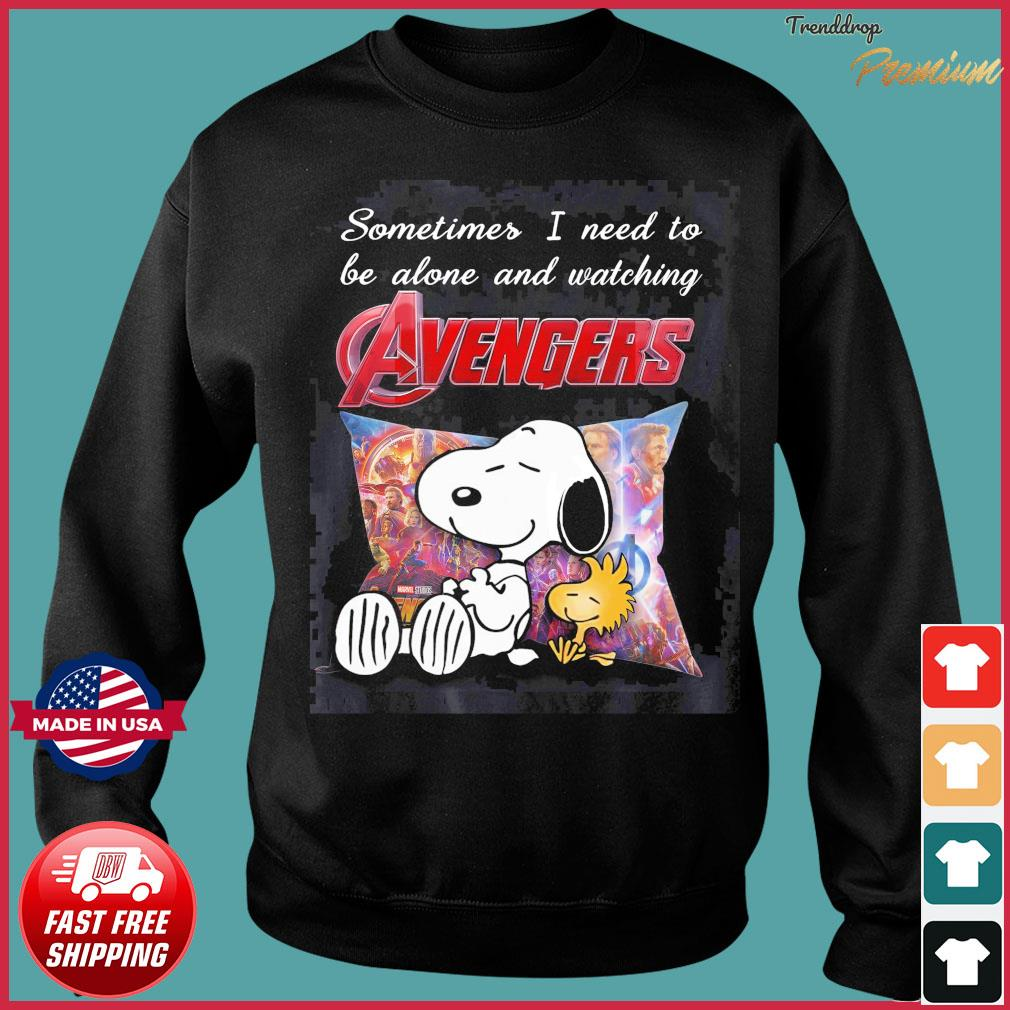 Snoopy And Woodstock Sometimes I Need To Be Alone And Watching Marvel Avengers Shirt Sweater