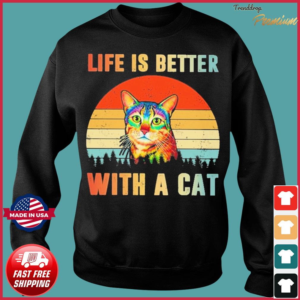 Vintage Retro Life Is Better With A Cat Shirt Sweater