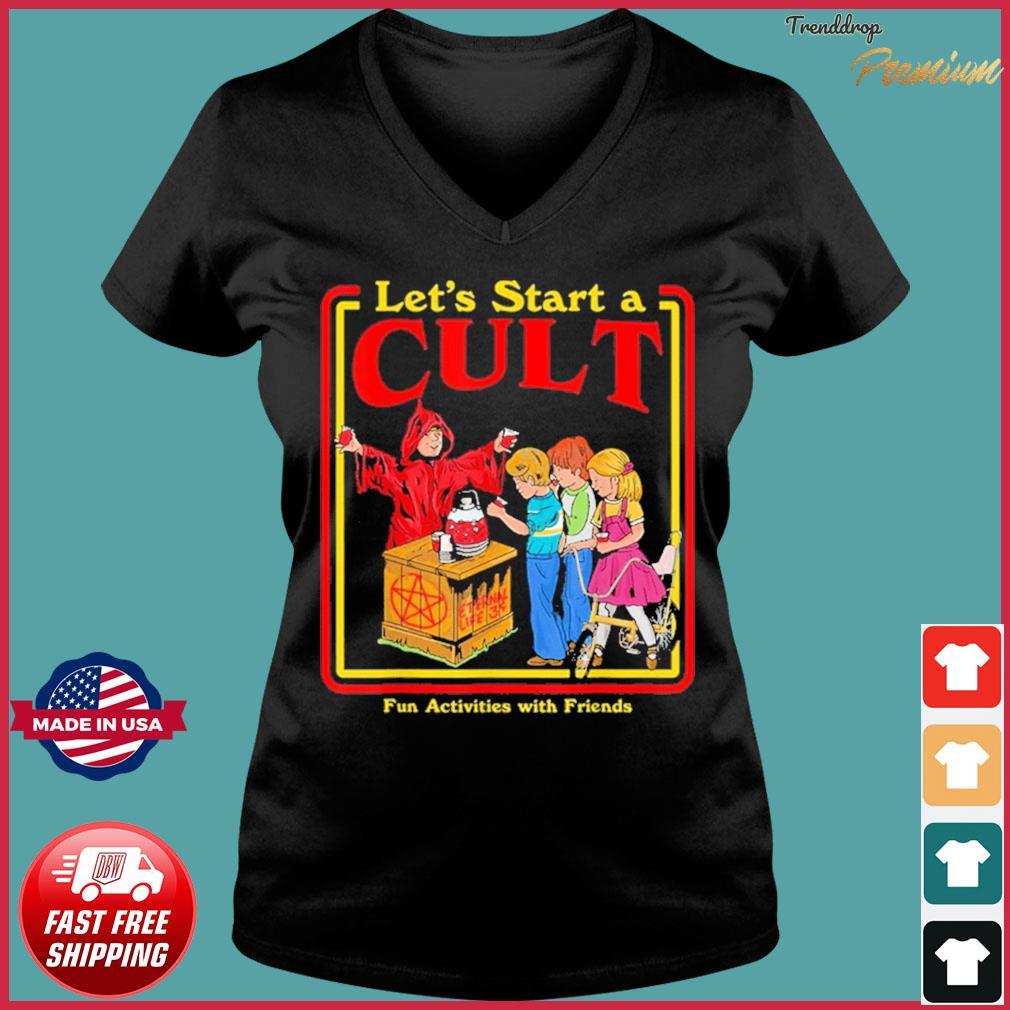 Let's Start a Cult Satanic Vintage Horror Edgy Shirt Ladies V-neck Tee