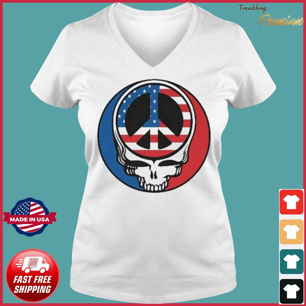 Official Peace Grateful Dead Steal Your Face American Flag Shirt Ladies V-neck Tee