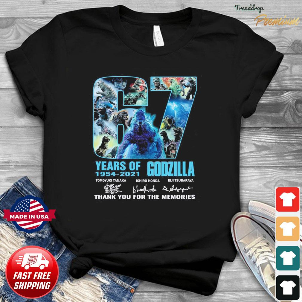 Official The Godzilla 67 Years 1954 2021 Signatures Thank You For The Memories Shirt