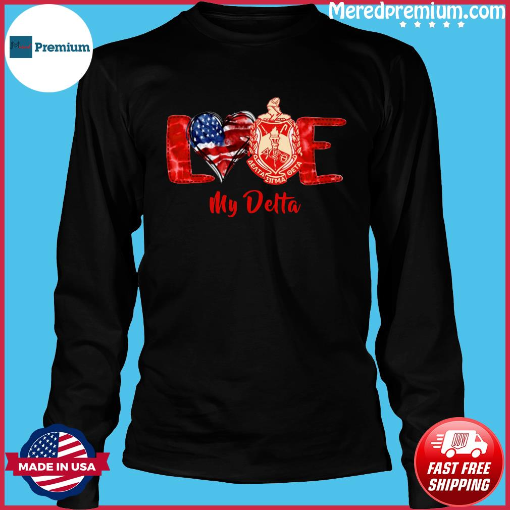 Love Heart American Flag Delta Sigma Theta Shirt Long Sleeve