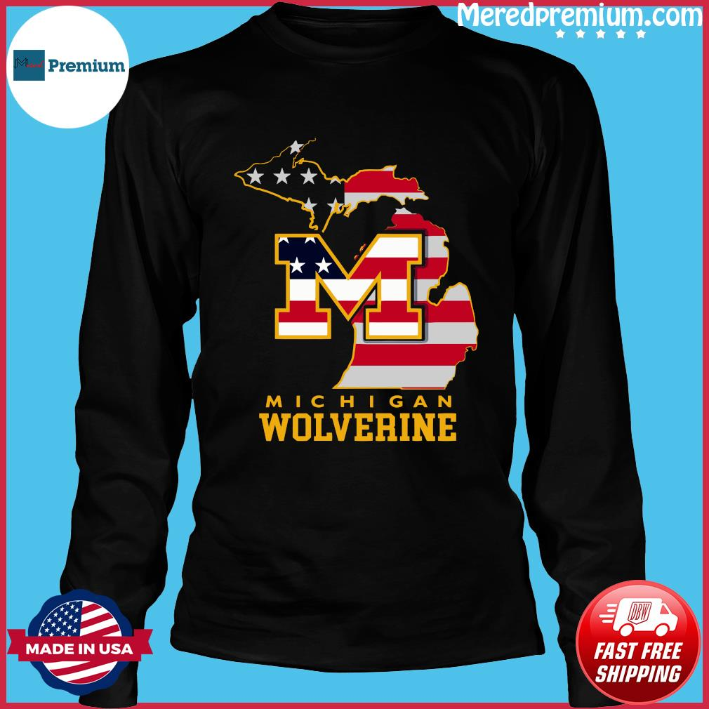 Michigan Wolverine American Map Flag Shirt Long Sleeve