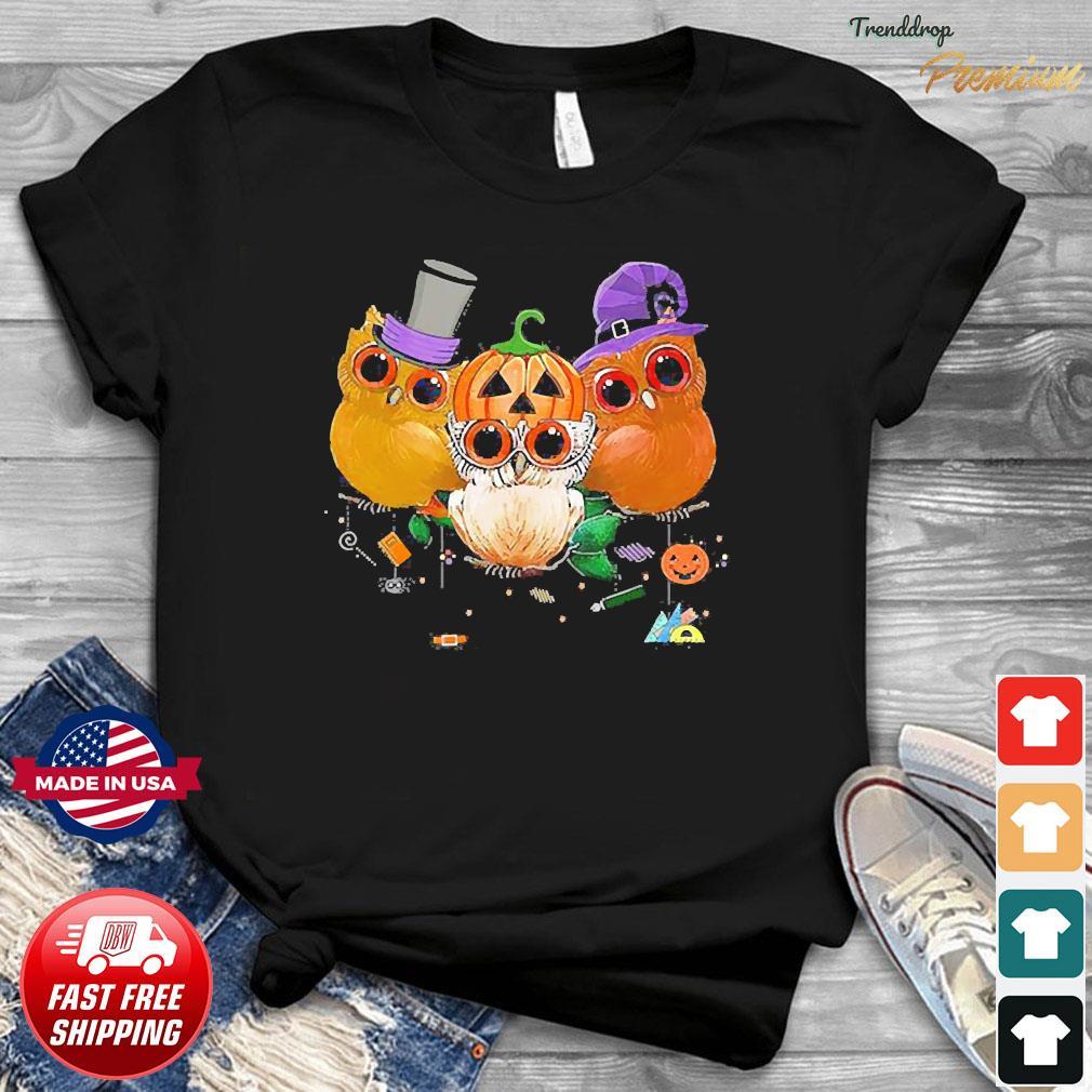 Three Owls Witch Hat Mummy Devil Cute Halloween shirt